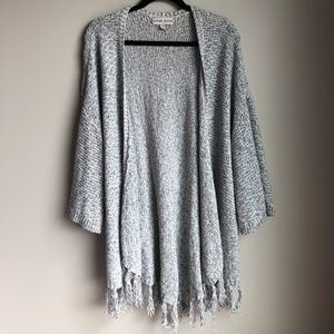 Knox Rose Blue and White Open Front Cardigan sz L